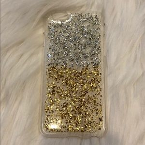 Accessories - Clear iPhone 6 case with silver and gold sparkles